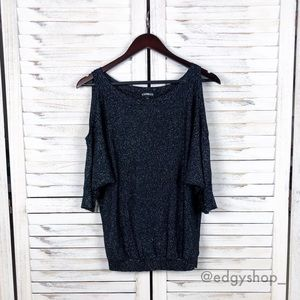 [Express] Metallic Cold Shoulder Dolman Sweater